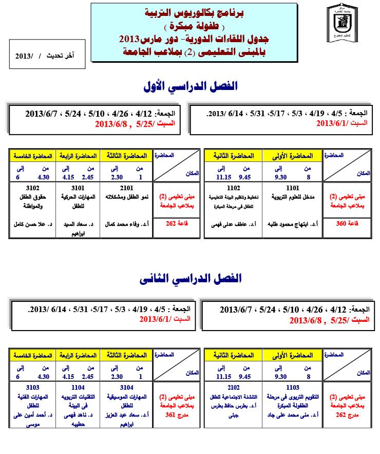 جدول محاضرات كلية رياض أطفال تربية